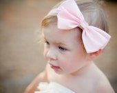Pink Sweet Satin LARGE Bow with Square Crystal Button Center -  Elastic Headband or Hair Clip