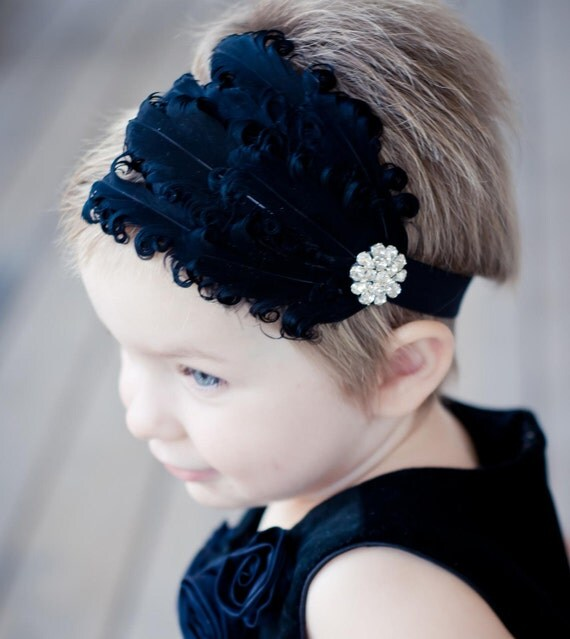 Black Feather Headband - Vintage Glamour Style Curled Feather Fascinator Stretchy Headband or Clip