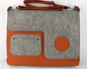 Organic Laptop Bag in rust orange, eco friendly bag with wool felt
