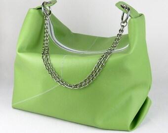 Vegan Purse, Vinyl Shoulder bag in Artichoke Green