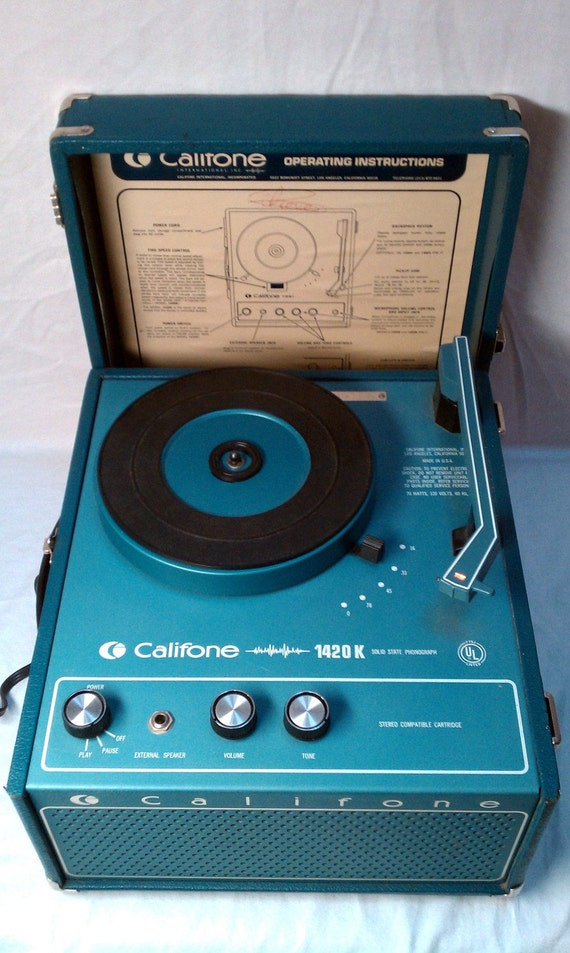 vintage califone 1420k record player turntable in blue