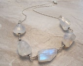 Rainbow Moonstone Necklace, Sterling Silver- Hand-Wrought Wire-Wrapped - A Song of Fire and Ice