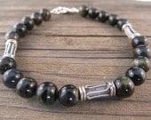 Pillars of Hercules - Mens Blue Tiger Eye & Black Onyx Bracelet in Sterling Silver with Silver Bali Beads