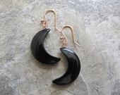 Black Onyx & Copper Earrings, Halloween, Moons, Crescent