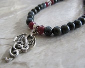 Mens Blue Tigers Eye & Ruby Dragon Necklace in Sterling Silver with Silver Bali Beads