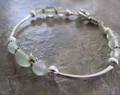 Prehnite Bracelet in Silver, Green Garnet