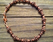 Beaded All Copper Bracelet in Antiqued Copper with Handmade Beads, Artisan
