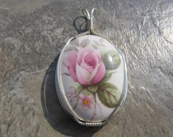 Wire Wrapped Pendant in Sterling Silver - One of a Kind - Upcycled Vintage Cabbage Rose Porcelain Cabochon Wirewrapped Wire-Wrapped