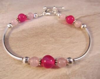 Hot Pink Chalcedony & Rose Quartz Bracelet in Silver