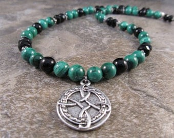 Mens Beaded Celtic Necklace with Antiqued Silver Plated Pewter Celtic Pendant in Malachite, Black Onyx & Sterling Silver