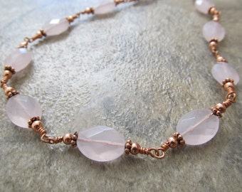 Rose Quartz Necklace in Copper, Wire Wrapped, Hand Wrought, Faceted Stones