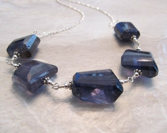 Iolite Necklace in Sterling Silver Wire-wrapped Hand-Wrought