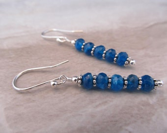 Faceted Electric Blue Apatite Rondelles & Sterling Silver Bali Earrings