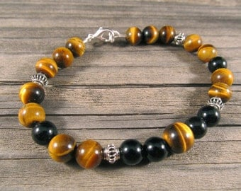 Mens Black Onyx and Golden Tigers Eye Bracelet in Sterling Silver with Silver Bali Beads