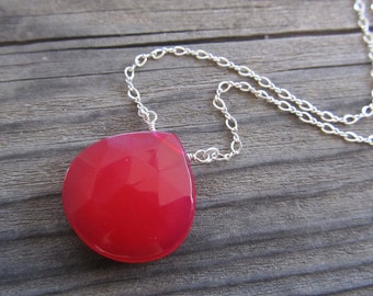 Raspberry Chalcedony Station Necklace in Sterling Silver, Faceted Teardrop, Red, Wire Wrapped