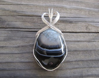 Wire Wrapped Pendant Black & White Agate Drusy Druzy in Sterling Silver Wire - One of a Kind - Wirewrapped Wire-Wrapped