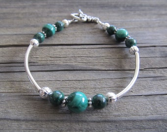 Malachite Bracelet in Silver