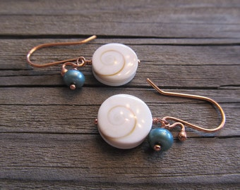 Shiva Shell Earrings with Freshwater Pearls in Antiqued Copper