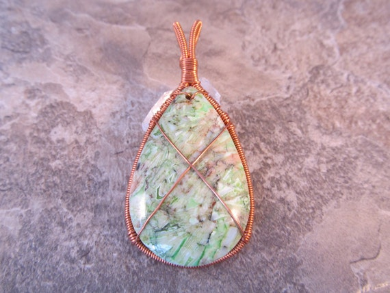Wire Wrapped Pendant Pastel Green Bamboo Agate - One of a Kind - Wirewrapped Wire-Wrapped