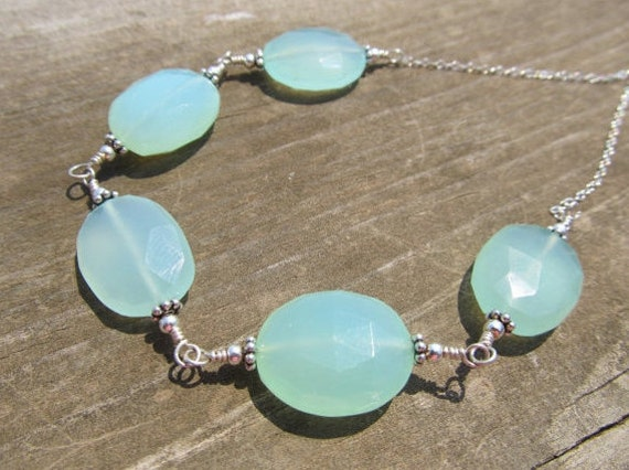 Chalcedony Necklace in Sterling Silver Peruvian Blue