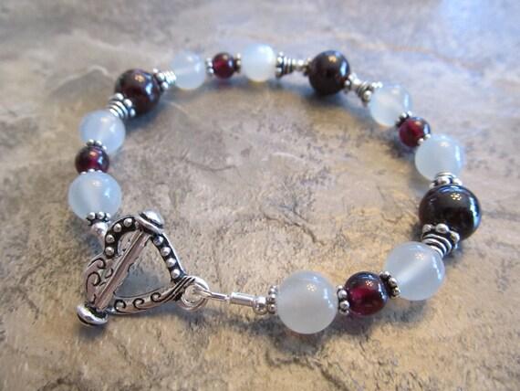 Reflective White Moonstone, Rich Red Garnet & Sterling Silver Bali Bead Bracelet