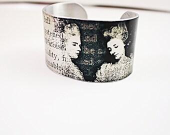 Cuff Bracelet,  Vintage style, paris, victorian women,   Adjustable Silver, quote bracelet No. B