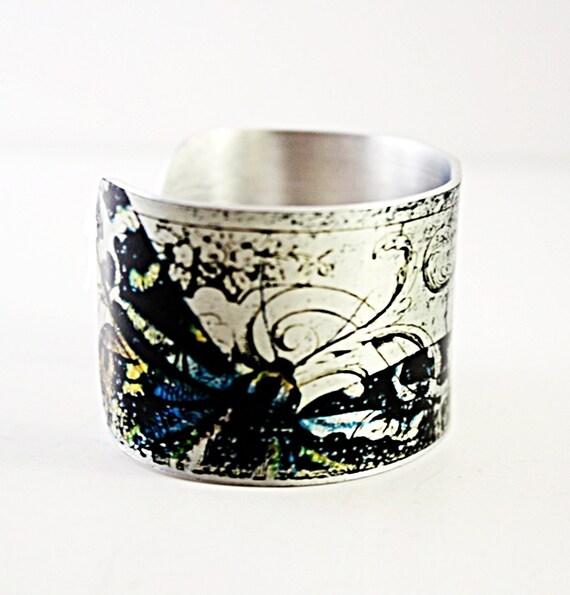 Cuff Bracelet Silver Butterfly Art Vintage Style Cuff