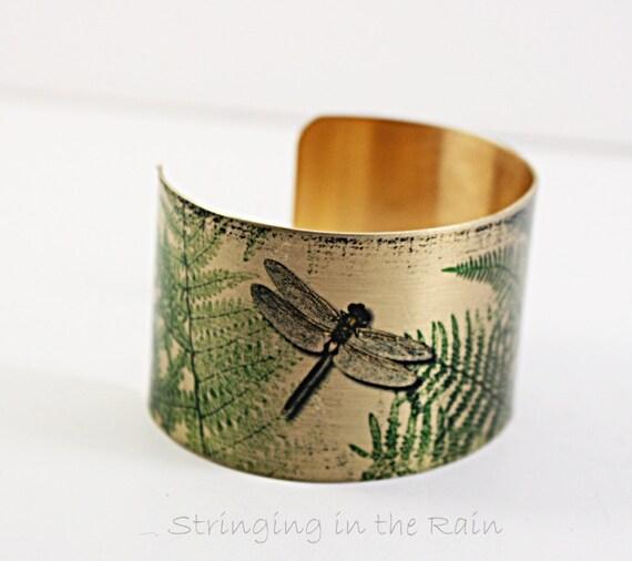 Brass Cuff Bracelet Dragonfly Art Vintage Style Brass Cuff
