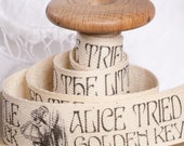 "Alice in Wonderland Cotton Fabric Ribbon. Hand Printed 2m x 25mm /80""x 1""  Alice cotton tape. Alice gift wrap. for cushions bags etc. no15"