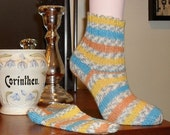 Knit Wool Socks Yellow Knit Socks Striped Socks Hand Knit Socks Wool Socks Knitted Socks Knitted Yellow Socks