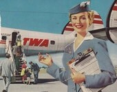 Vintage Stewardess Airplane Ads TWA 7 x 10 inch  18 x 25 cm