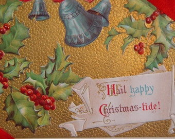 Vintage Christmas Card- Edwardian Steampunk Antique- Blank Card- Bells and Holly