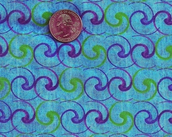 Geometric Cotton Fabric- Turquoise Swirl Abstract-Boho Chic- 1 yd 9 inch x 44 inch  1m 60 cm x 112 cm