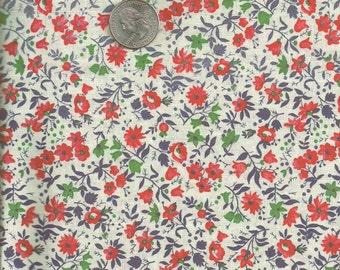 Floral Cotton Print-Boho Hippie Mod-Vintage SALE- Classic Blue Red  1 yd x 44 inch  91 x 112  cm
