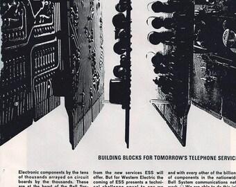Retro High Tech- 5 Vintage Telephone Ads- Mid Century Geekery- Wall Art- 60s  7 x 10 inch 18 x 25 cm