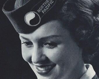 Working Women Ads- Retro Midcentury Vintage- Stewardess- 7 x 10 inch  18 x 25 cm