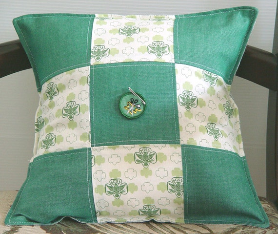 Girl Scout Pillow Cover- Midcentury Retro Fabric- 14x14 inch Made to Order