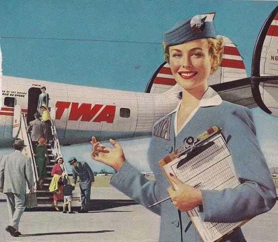 Vintage Stewardess Airplane Ads TWA 7 x 10 inch  18 x 25 cm