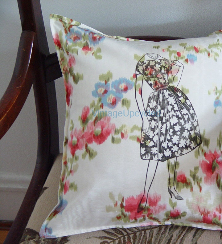 Shabby Chic Silk Moire Pillow Cover. Mid Century Retro