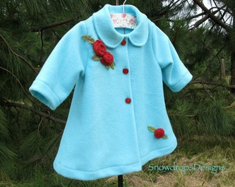 Aqua Blue Swing Coat with Red Roses for baby/infant.