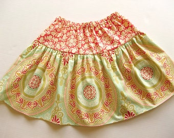 Aqua and coral medallion skirt for toddlers and girls Ready to ship size 7/8 REDUCED PRICE