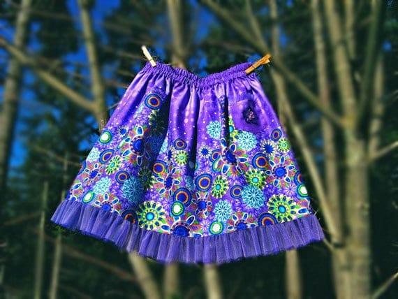 Girls skirt Purple, lavender, aqua, lime, blue border print skirt with tulle ruffle