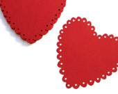 10 Die Cut Vintage Style Scallop Hearts (5 inches) in Cherry Splash Red - Wedding, Bridal Shower, Valentines Day, etc.