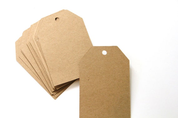 50 Die Cut Square Top Gift Tags / Price Tags (3.5 x 2.5 inches) in Brown Kraft Paper Cardstock