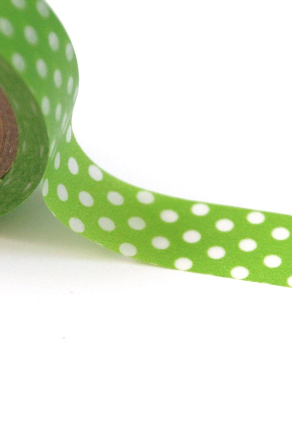 50% OFF SALE - 1 Roll of Lime Green and White Polka Dot Masking Tape / Japanese Washi Tape (.60 inches wide x 33 feet long)