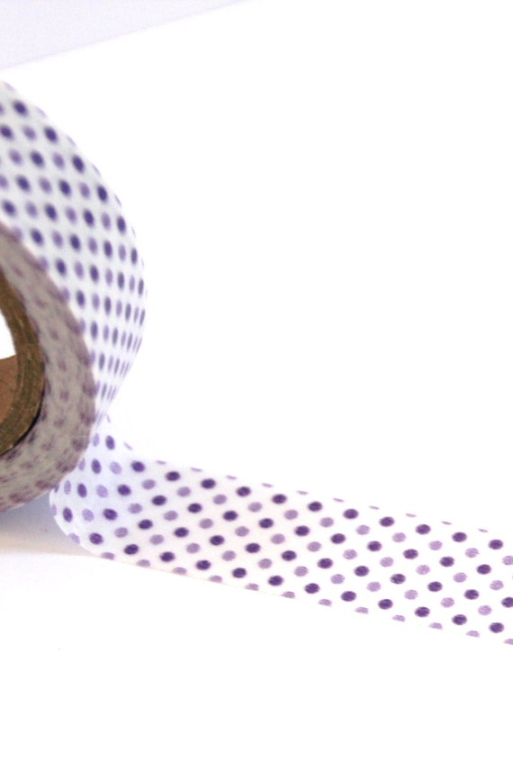 50% OFF SALE - 1 Roll of Light Purple, Dark Purple, and White Polka Dot Masking Tape / Japanese Washi Tape (.60 inches x 33 feet)