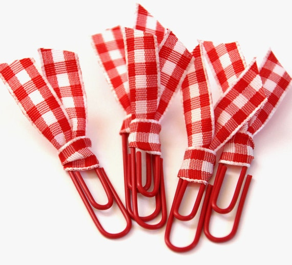 5 Decorative Red and White Gingham / Checkered Ribbon Paper Clips - Gift Wrap, Scrapbooking Embellishment, Bookmark, etc.