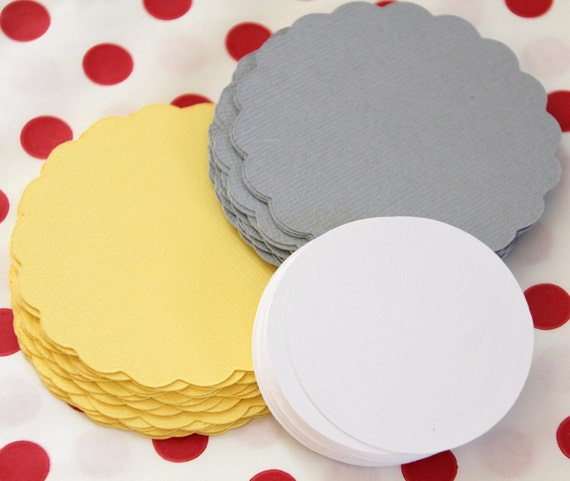 30 Die Cut Scallop Circle DIY Cupcake Toppers (2.5 inches) in Yellow, Gray, & White Cardstock - Birthday, Baby Shower, Bridal Shower, etc.