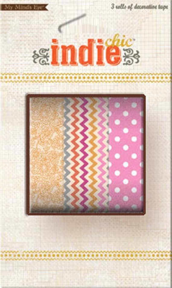 20% OFF SALE - 3 Roll Set My Mind's Eye Indie Chic Decorative Masking Tape / Washi Tape (32 ft. each) - Chevron, Polka Dot, & Floral