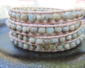 African Opal Beaded Leather Wrap Bracelet with Natural Leather